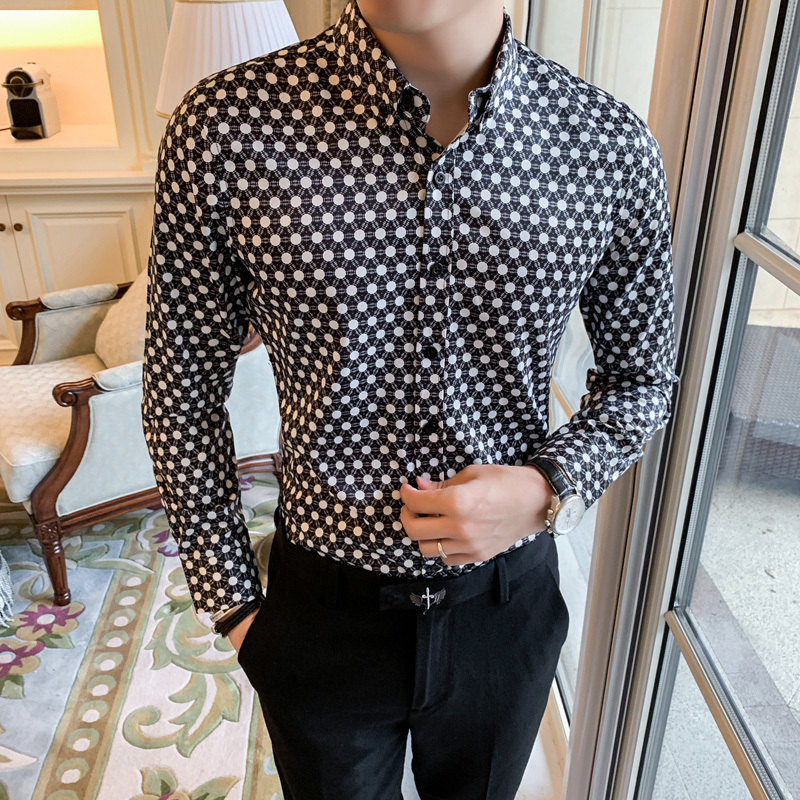 Retro Brand Casual Shirts Men 2019 Designer Shirt Men Dress Shirt Dot Printing Stylish Long Sleeve Lapel Neck Streetwear Tops