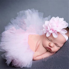 Headband-Set Tutu-Skirt Photography-Props Pink Tulle Baby-Girl Infant Flower Gown Pale