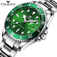 FNGEEN Mechanical Watch Green Classic Design Men Waterproof Stainless Male Clock