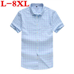 10XL9XL 8XL big size New brand men casual shirts short sleeve plaid sotton Loose fit dress shirt plus size clothing for business