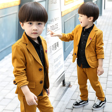 2019 New Childrens Suit Sets Boys Solid Coat+Tshirt+ Trousets 3pcs Clothing Kids British Style Party School Costume