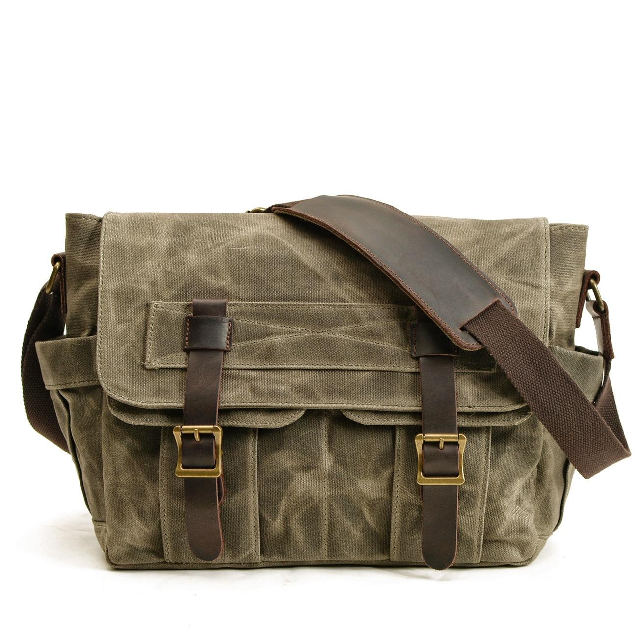 Classic Tooling Shoulder Shoulder Bag Canvas Bag Vintage Waterproof Locomotive Side Convex Motorcycle Side Cladding Commuter Bag