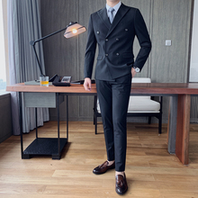 Men Suits Pants Slim-Fit Formal Double-Breasted Fashion 2PC Wear with 4XL-M British-Style