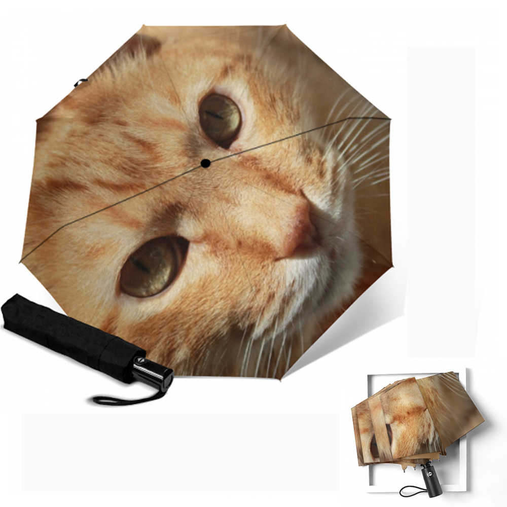 Color:Yellow Cute Cat Printed Women Umbrella Windproof Rainproof Automatic Umbrellas Rain Women Parasol Three Folding Anti-UV Paraguas