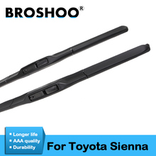 цена на BROSHOO Car Soft Rubber Wiper Blades Clean The Windshield For Toyota Sienna,Model Year From 1997 To 2017 Fit Standard Hook Arm