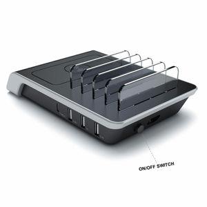 Image 5 - شاحن لاسلكي آيفون سامسونج منافذ USB شحن سريع محطة حوض لأجهزة متعددة المحمولة حامل الهاتف الذكي حامل