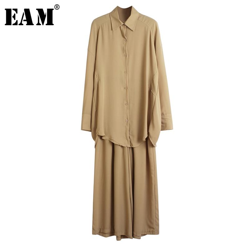 [EAM] Wide Leg Pants Big Size Two Piece Suit New Lapel Long Sleeve Black Loose Fit Women Fashion Tide Spring Autumn 2020 1R521