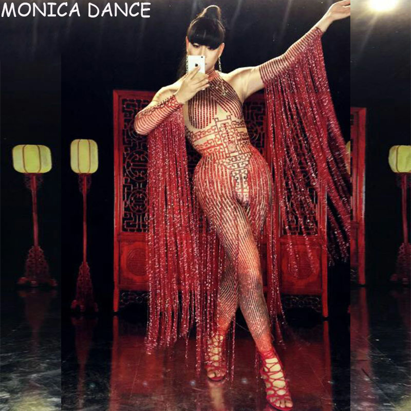 <font><b>Sexy</b></font> Glisten Crystals Red Jumpsuit Long Tassel Women Outfit Nightclub Female <font><b>Singer</b></font> <font><b>Costume</b></font> <font><b>Stage</b></font> Dance <font><b>DS</b></font> Performance <font><b>Costumes</b></font> image