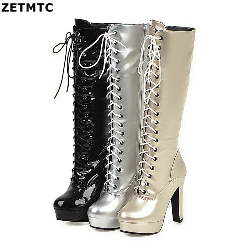 Sexy Women Boot  Platform Boot Round Toe Zip High Heels Footwear Fashion Party Sexy Female Shoes Big Size32- 43