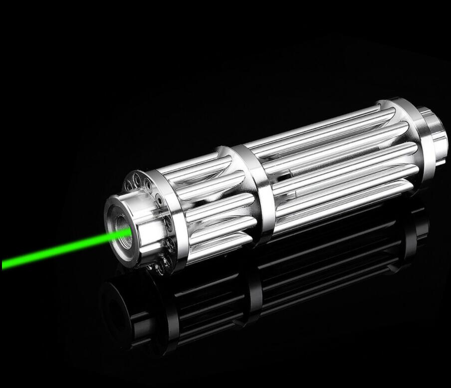 Silver 532nm Green Laser Pointer 20 Miles Red Laser Pointer Pen Lazer Zoomable Beam Light Focus Adjustable 10000m 532nm Gifts