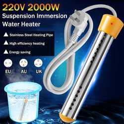 2000w flutuante aquecedor elétrico caldeira elemento de aquecimento de água suspensão de imersão portátil o aço inoxidável aquecer up ue/uk plug