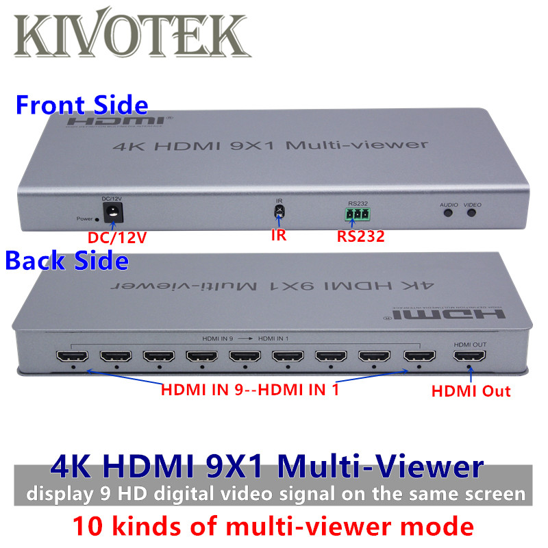 4K HDMI 9x1 Multi Viewer Switcher Adapter Switch 9xHdmi on 1 Screen,Female Connector IR Control Divider Conveter for CCTV HDTV