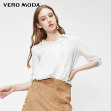 Vero Moda Women's Office Plaid Jacquard 3/4 Sleeve Shirt   319358502