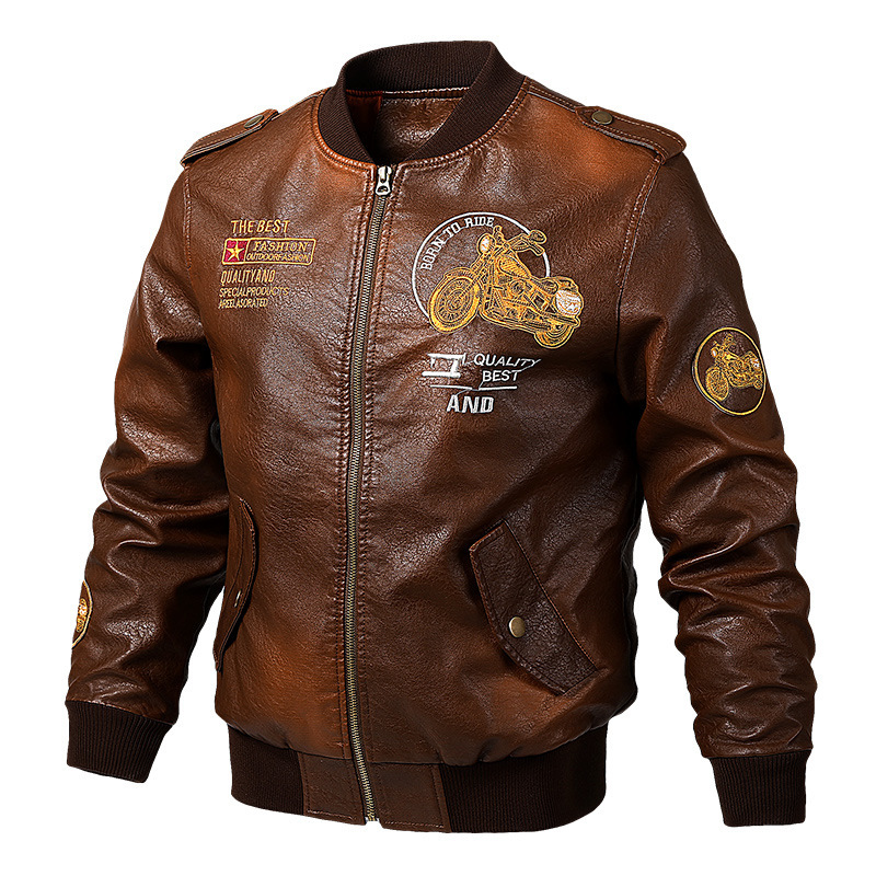 19 Spring New Style Baseball Uniform Flight Leather Jacket Men's Large Size Loose-Fit Embroidered Locomotive Men's PU Leather