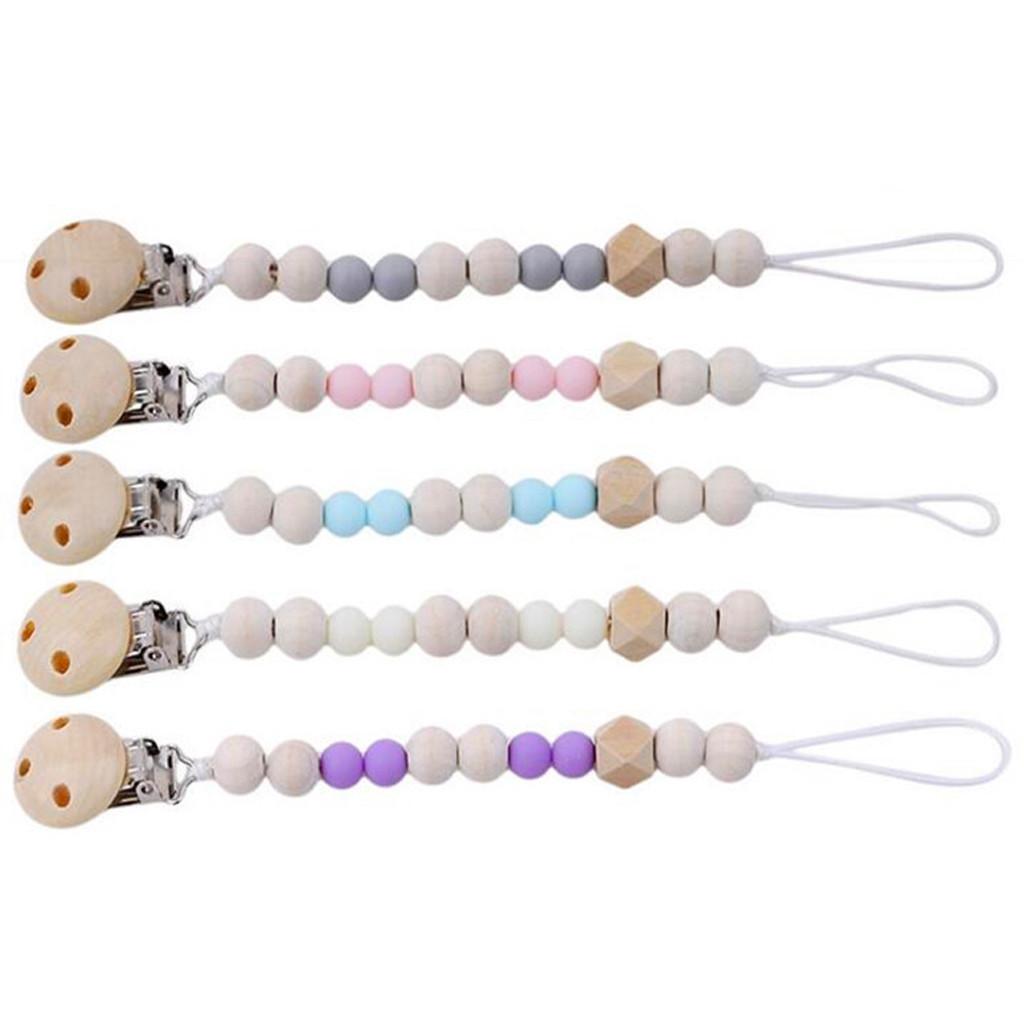 Baby Pacifier Clip Chain Silicone Beads Wooden Holder Soother Pacifier Clips Nipple Holder For Infant Nipple Clip Molar Chain