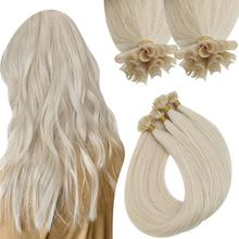 VeSunny Keratin U Tip Extensions Virgin Human Hair Nail Tip Extensions Color 1000 White Blonde Cold Fusion Hair Extensions