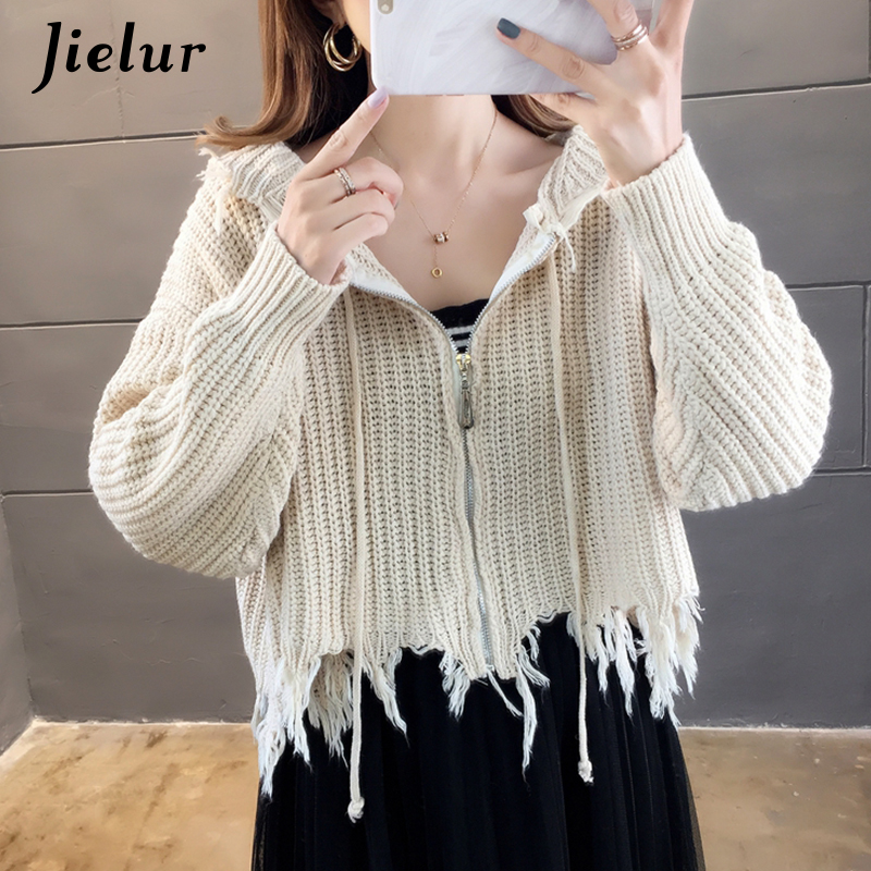 Jielur Korean Winter Retro Knitted Cardigan Women Chic Loose Tassel Shrugs Hooded Zipper Coffee Black White Sweater Female 2019