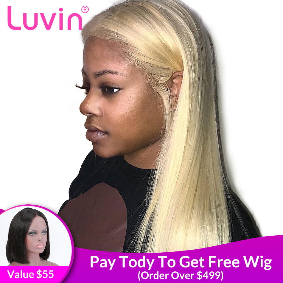 28 30 polegada HD Transparente 613 Dianteira Do Laço Loira Perucas de Cabelo Humano Glueless Lace Wig Frontal Pré Arrancou Com O Bebê cabelo Liso