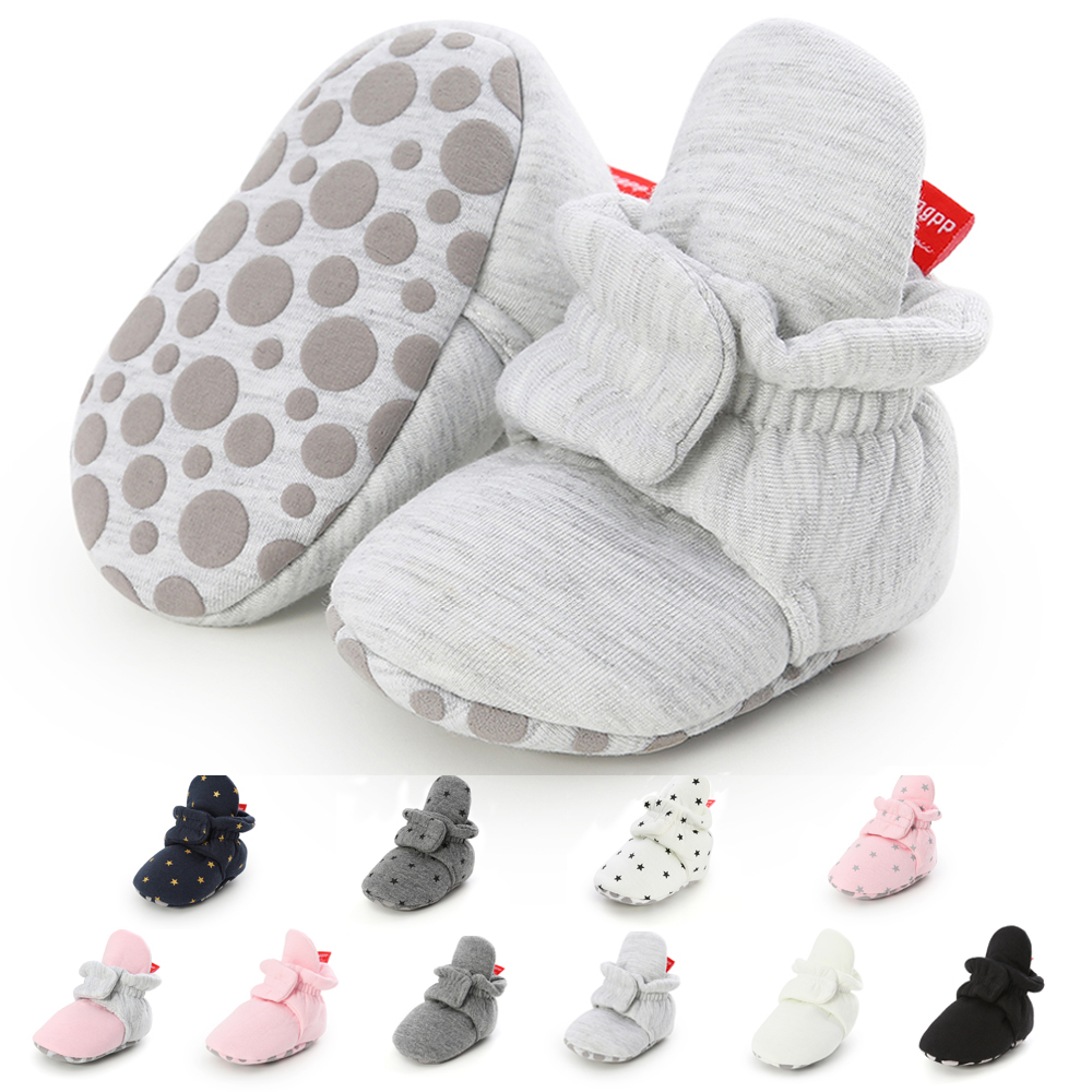 Baby Boy Girl Socks Toddler Shoes Solid Prewalkers Booties Cotton Winter Soft Anti-slip Warm Newborn Infant Crib Shoes Moccasins