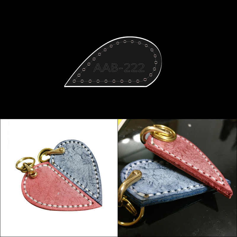 Die Leather Cutting Handmade Leather Goods Keychain Pendant Diy Version Drawings Like Love Heart Shaped Pendant Acrylic Template