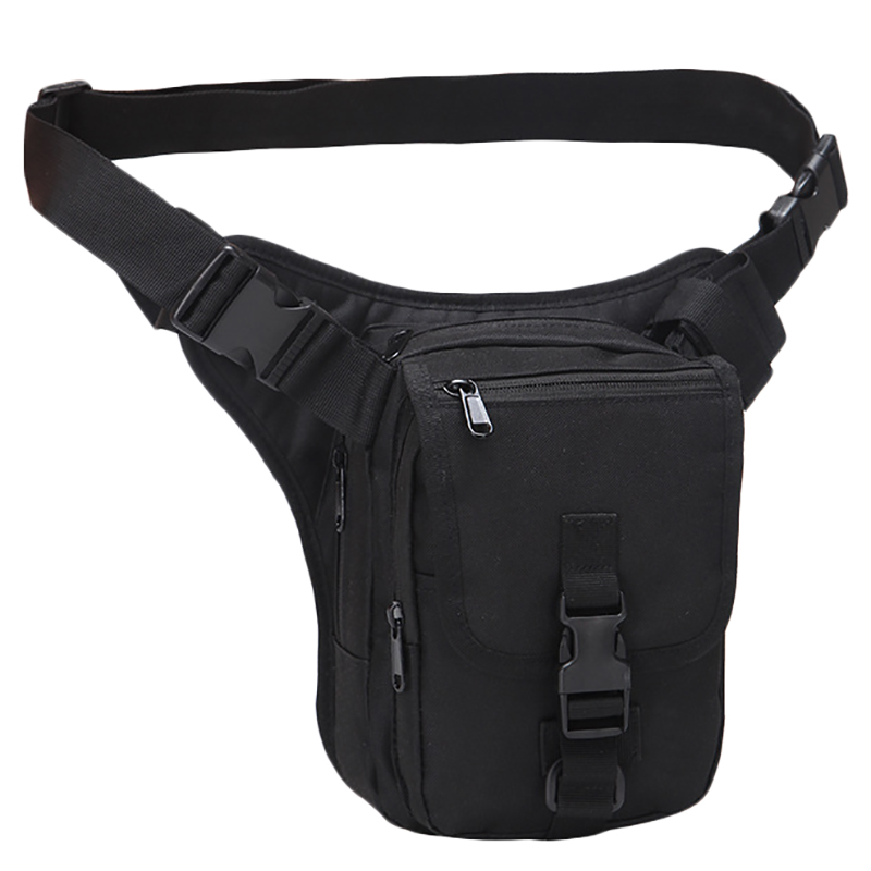Men Hip Belt Bag Motorcycle Rider Camouflage Pouch Casual Male Waist Pack Bags Black
