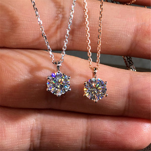 18K Rose Gold 2ct Lab Diamond Pendant Real 925 Sterling Silver Party Wedding Pendants Chain Necklace For Women Fine Jewelry