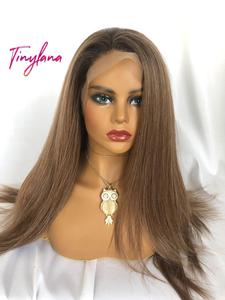 Image 2 - TINY LANA Long Silky Straight Brown Blonde Lace Front Wig with Baby Hair Heat Resistant 100%Futura Synthetic Wigs for Women