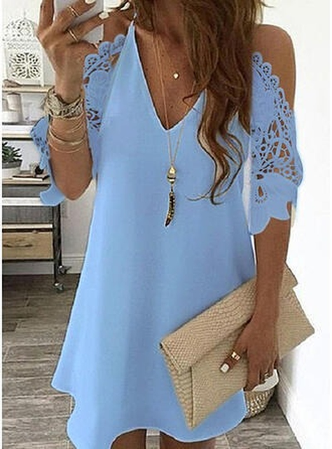 Women's Lace Splicing Dress V-neck Off Shoulder Sling Mini Dress Solid Color Casual  Hollow out Sleeve Dress 1