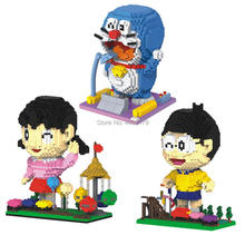 hot LegoINGlys creators classic cartoon Doraemon Nobita Nobi Minamoto Shizuka figure mini micro diamond building block toys gift