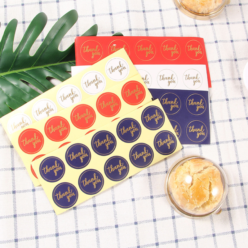 100pcs/lot  Round Thank You Color Hot Stamping Red Blue White Kraft Paper Seal Sticker DIY Multifunction Decoration Label