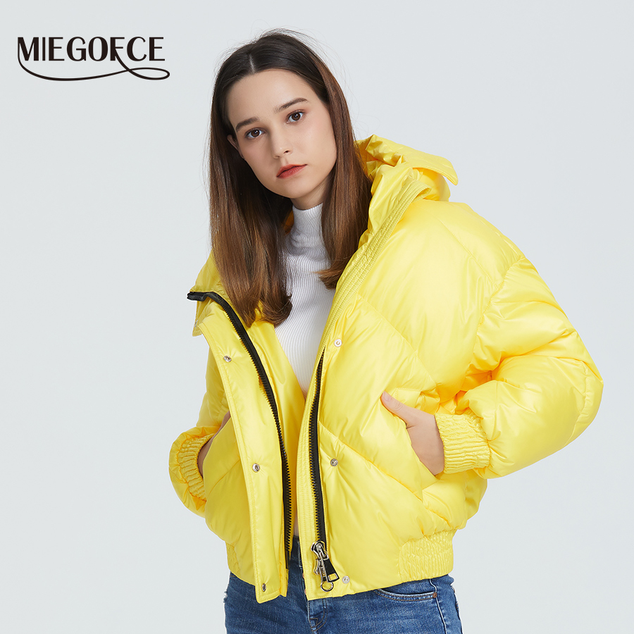 MIEGOFCE 2020 New Design Winter Coat Women's Jacket Insulated Cut Waist Length With Pockets Casual Parka Stand Collar Hooded 3