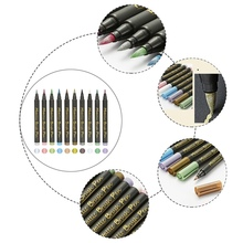 Marker-Pen Painting Paper-Ceramics Glass Permanent Soft-Tip Metallic 10-Colors