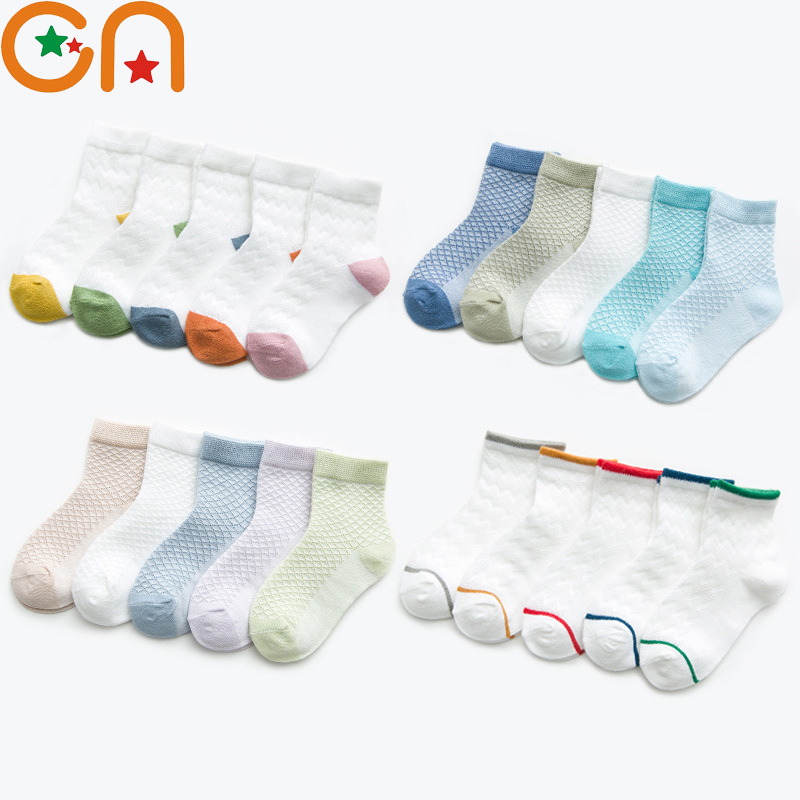 5 Pairs/Lot New Kids Soft Cotton Socks Boy Girl Student Fashion Sports Mesh Socks For Children Spring Summer Baby Gifts CN