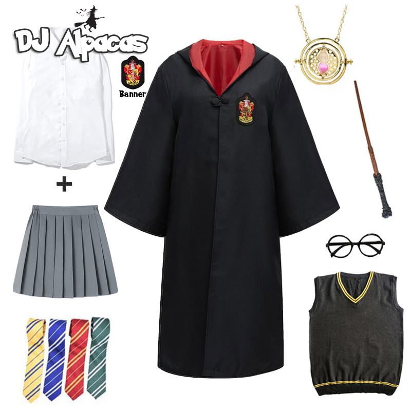 Cosplay Potter Costume Magic Robe Cape Hermione Suit Tie Scarf Wand Glasses Godric Gift Potter Cosplay Halloween Party