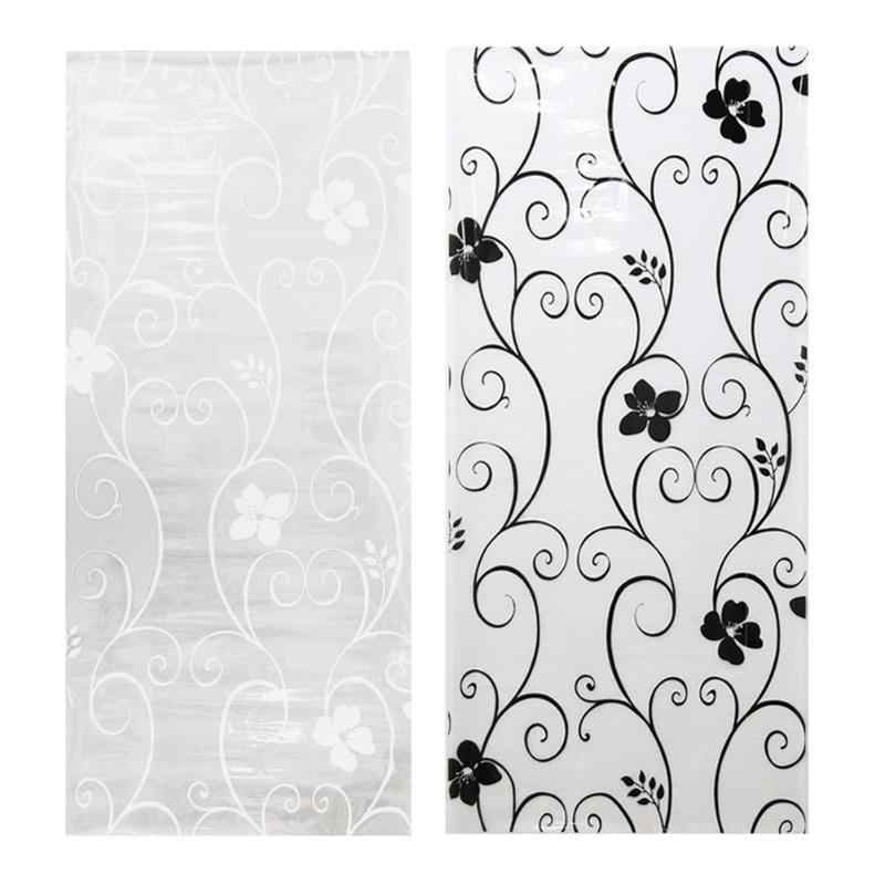 45*100cm Frosted Opaque Glass Window Wall Film Privacy Glass Sticker Black&white Wrought Iron Flower Beautiful Decor