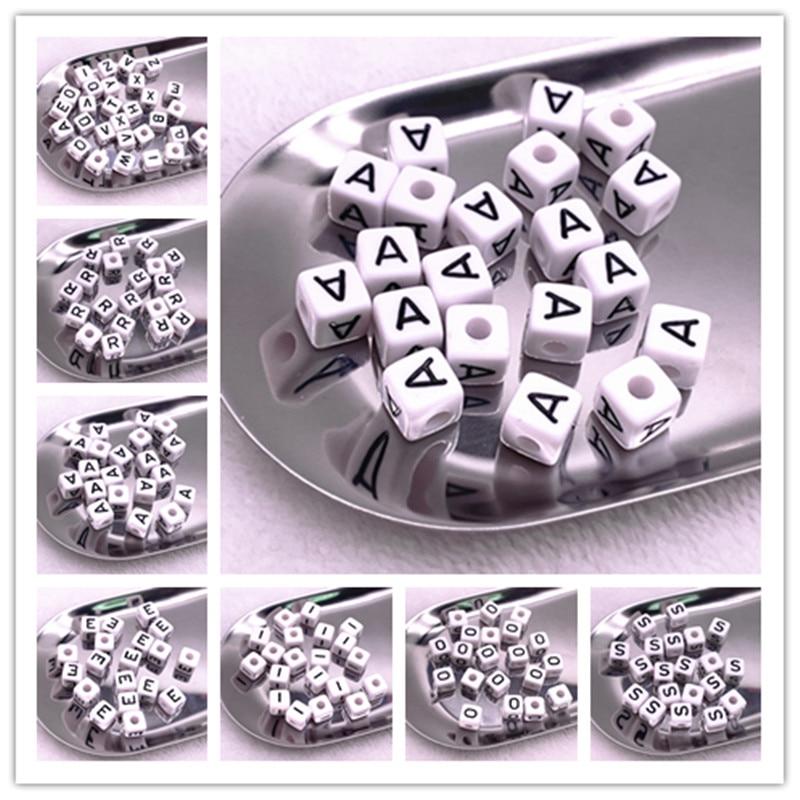 20 adet 10*10mm A-Z beyaz alfabe/mektup akrilik küp boncuk DIY takı yapımı için
