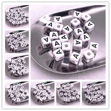 20 pces 10*10mm A-Z branco alfabeto/letra acrílico cubo grânulos para diy jóias fazendo