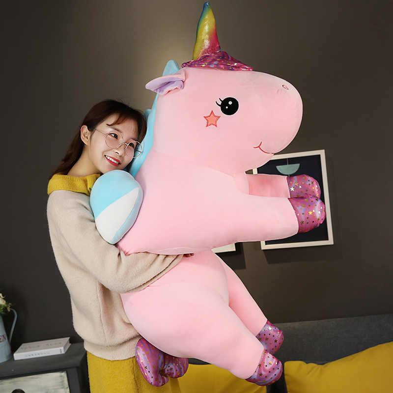 Huggable большой размер kawaii единорог плюшевые игрушки 3 вида стилей чучело Единорог лошадка с куклой мягкая детская подушка для домашнего декора подарки