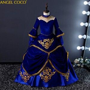 Детский костюм для подиума в европейском стиле платье принцессы для девочек юбка-американка в стиле дворца Детские костюмы с длинными рука...