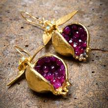 Unique Gold Pomegranate Design Earrings Dangle Hook Earrings for Women Female Fashion Jewelry Gifts for her