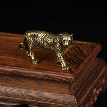 Solid Brass Big Tiger Figurines Ornaments Pure Copper Animal Tigers Model Statue Miniatures Desk Decorations Vintage