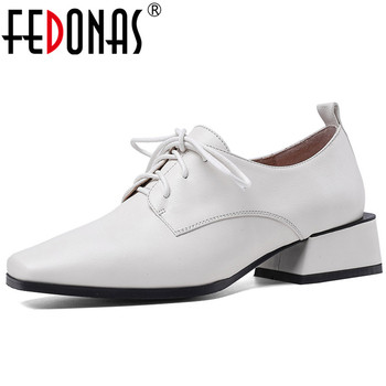 FEDONAS Elegant New Women Square Toe Shoes Butterfly Knot Shoes Square Heeled Cross-Tied Shoes Genuine Leather 2020 Shoes Woman