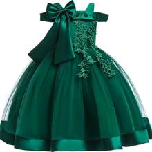 Для маленьких девочек 3D цветок вышивка шелковое платье принцессы для Свадебная вечеринка пачка с бантом Детские платья для девочек одежда детск