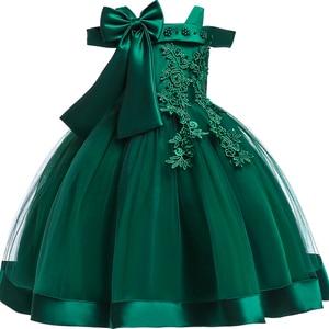 Embroidery Silk Princess Dress for baby girl Flower Elegant Girls dresses Winter Party christmas dress kids dresses for girls 10(China)