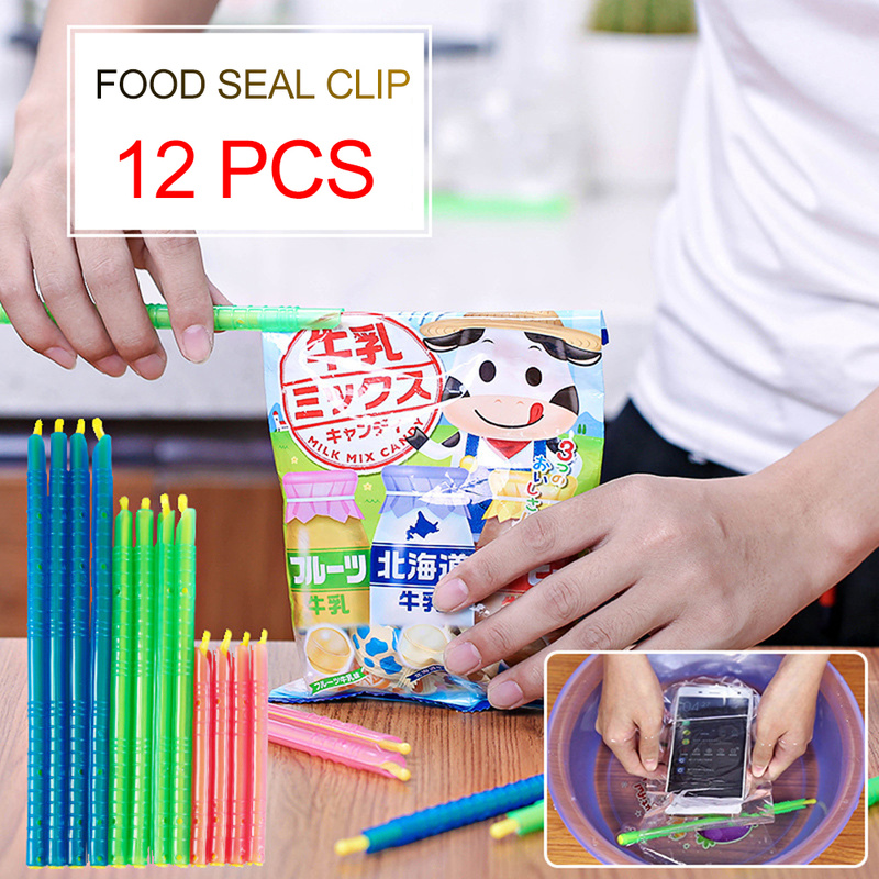 8/12PC Fresh Food Sealed Bag Clip Plastic Storage Bag Leak-proof Clip Coffee Bag Clips Snack Fresh Food Strip Kitchen Gadgets