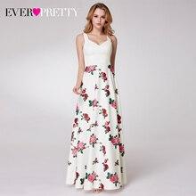 Простые Длинные платья выпускного вечера с цветочным принтом, элегантные вечерние платья а силуэта с v образным вырезом без рукавов, 2020