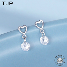 TJP S925 Sterling Silver-encrusted Zircon Earrings Stylish Delicate Hollow Love-shaped Ear Nails
