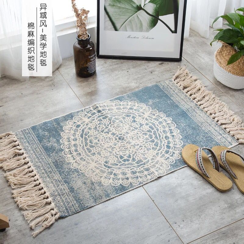 Linen Knit Rug Ethnic Style Carpet