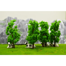цена на 50pcs 7cm model green wire trees toys miniature architecture color plants for diorama tiny forest building farm scenery making