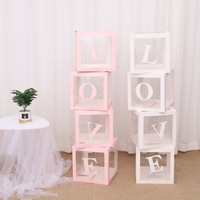4pcs/set Letter Love Baby Transparent Gift Boxes Kid Birthday Party Decoration Boxes Wedding Favor Party Event Decorations